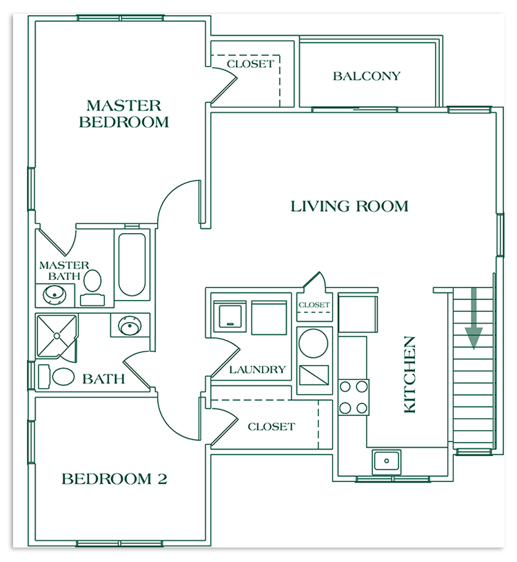 Two Bedroom Second Floor - SIZE: 1048 SQ. FT.