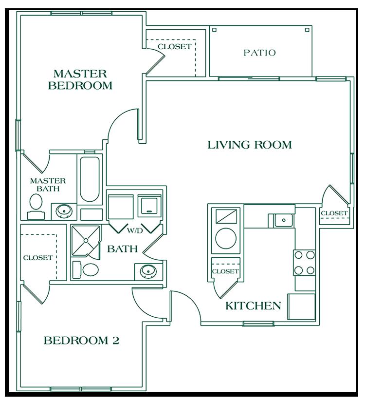 Two Bedroom Ground Floor - SIZE: 1028 SQ. FT.