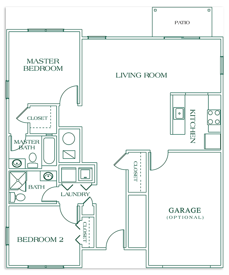 Two Bedroom Deluxe - SIZE: 1132 SQ. FT.