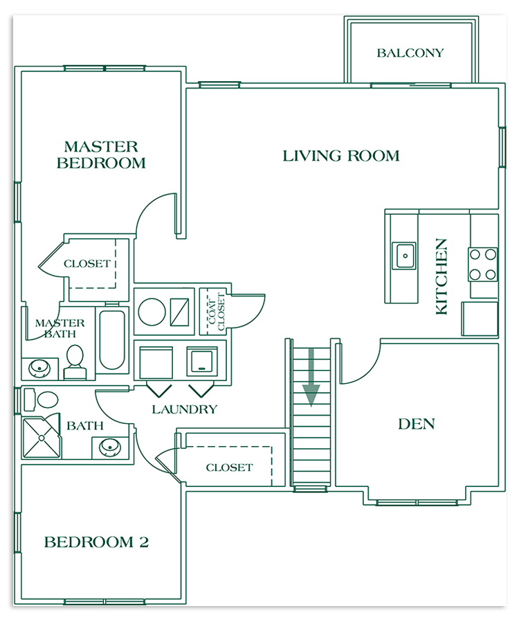 Two Bedroom with Den - SIZE: 1231 SQ. FT.