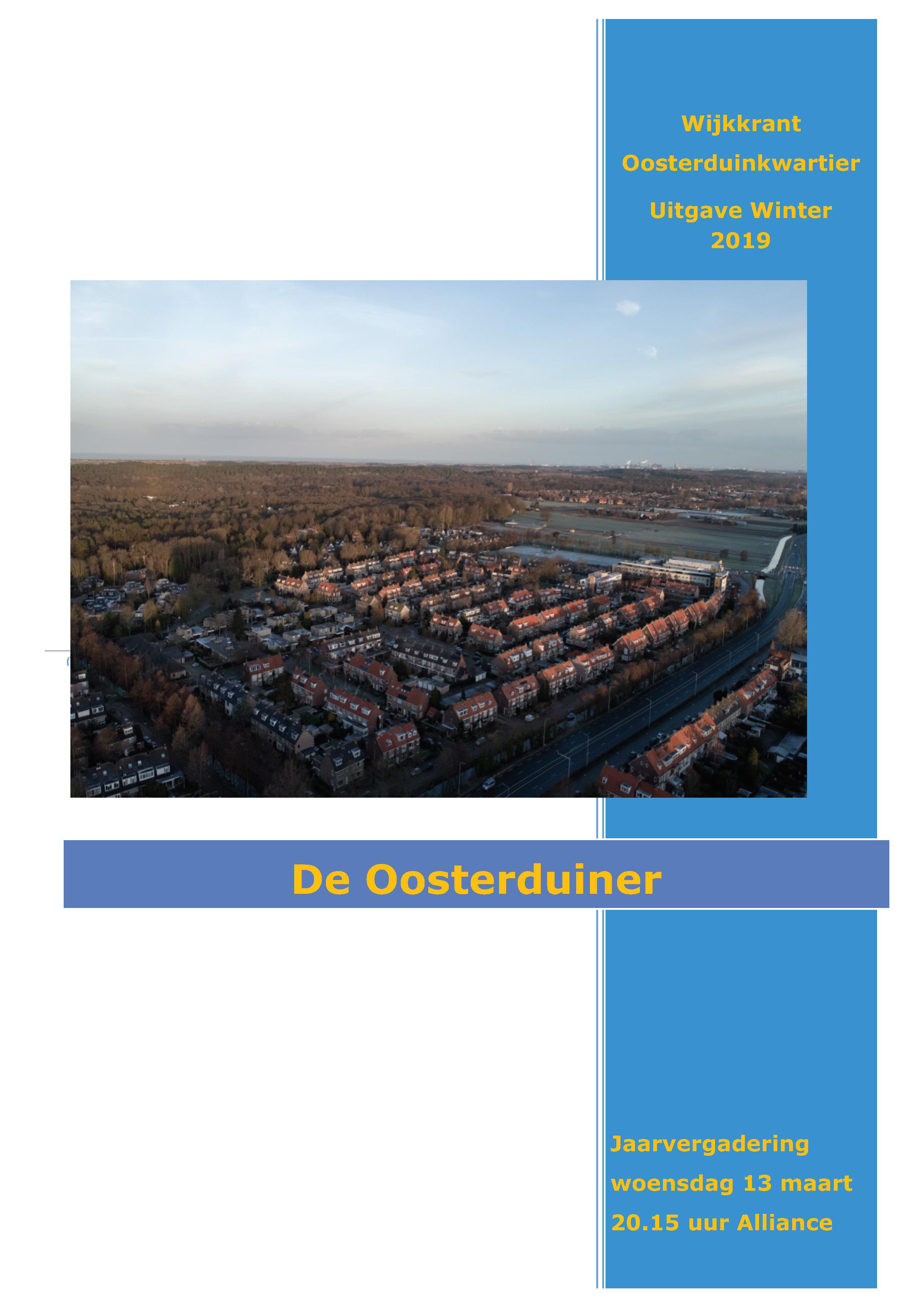 Wijkkrant winter 2019 - Wijkkrant Oosterduinkwartier - Uitgave Winter 2019