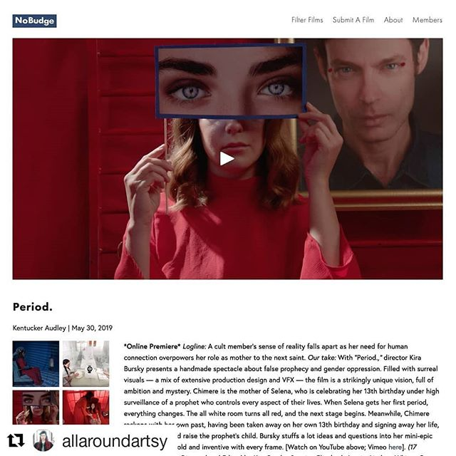 """All Around Artsy's film """"Period."""" is premiering online now! I wrote and composed the music for this film using many experimental techniques and strange instruments, including an actual vintage mellotron! """"Filled with surreal visuals — a mix of extensive production design and VFX — the film is a strikingly unique vision, full of ambition and mystery."""" Read the review and watch the film on @nobudge ! ✨🎬 #filmmaking #shortfilm #filmpremiere#filmscore #indiefilm #recording #composition #sounddesign #directedbywomen #asheville #ncfilm #ashevilleart #director #allaroundartsy #news #videoproduction #filmfestivals #premiere #nobudge #mellotron"""