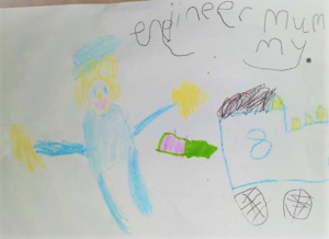 """I am Jessie, age 5. My mummy is a mechanical and electrical engineer. Here is a picture of her in her overalls and hard hat fixing a train."""