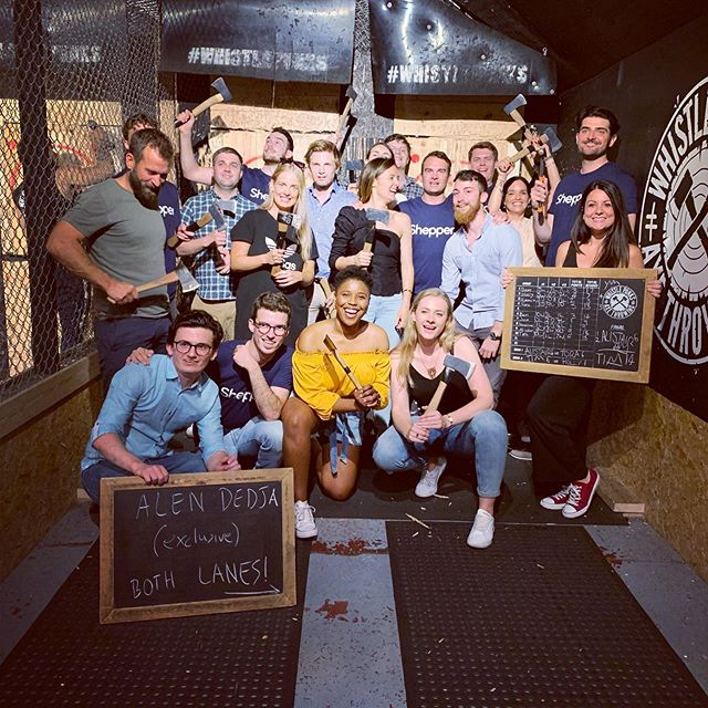 The perfect team throwing some perfect scores #shepper #axethrowing  #summerparty #teamgoals #whistlepunks #whistlepunksaxethrowing