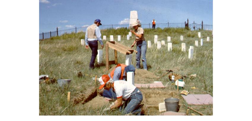 Excavation work on Last Stand Hill. 1984