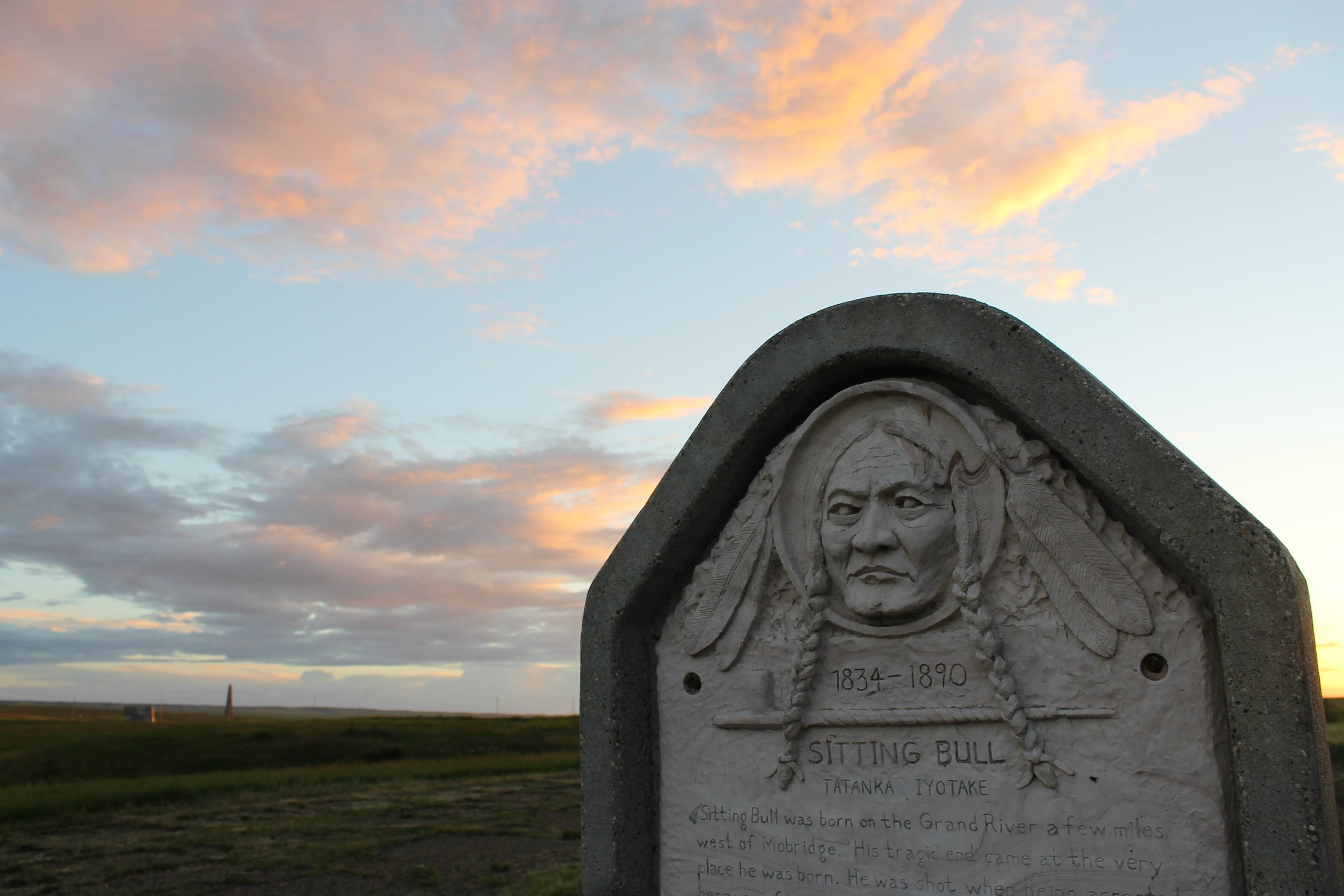 The Grave stone of Chief Sitting Bull. Located in Mobridge, South Dakota He was shot dead while on tour with Buffalo Bill Cody in 1890 in North Dakota