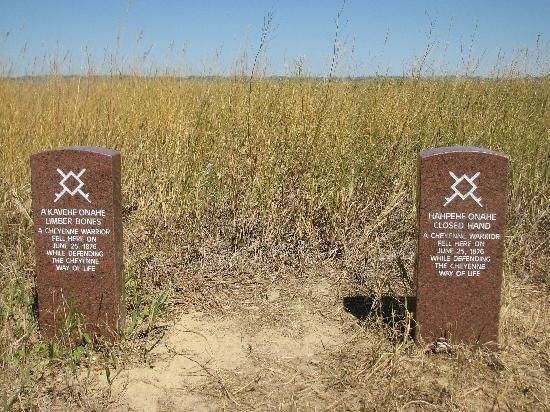Native American Memorial Gravestones on the Little Bighorn