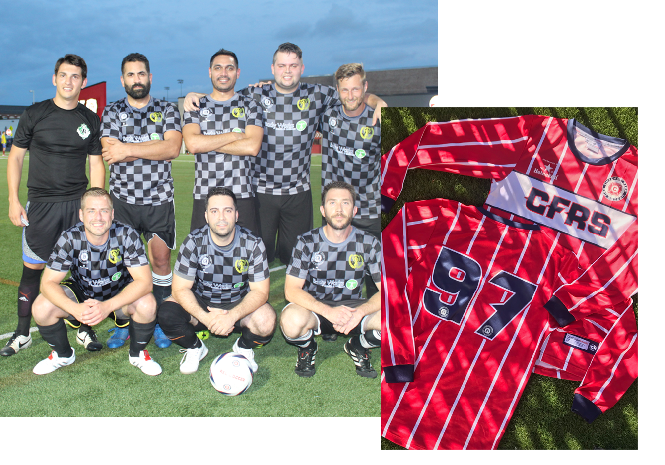 Chicago Fire Rec Soccer - Largest adult recreation soccer provider in the Midwest hosts thousands of soccer players a year and wanted to help provide custom uniforms for the passionate teams. So, we teamed up and got their players outfitted in professional style jerseys.