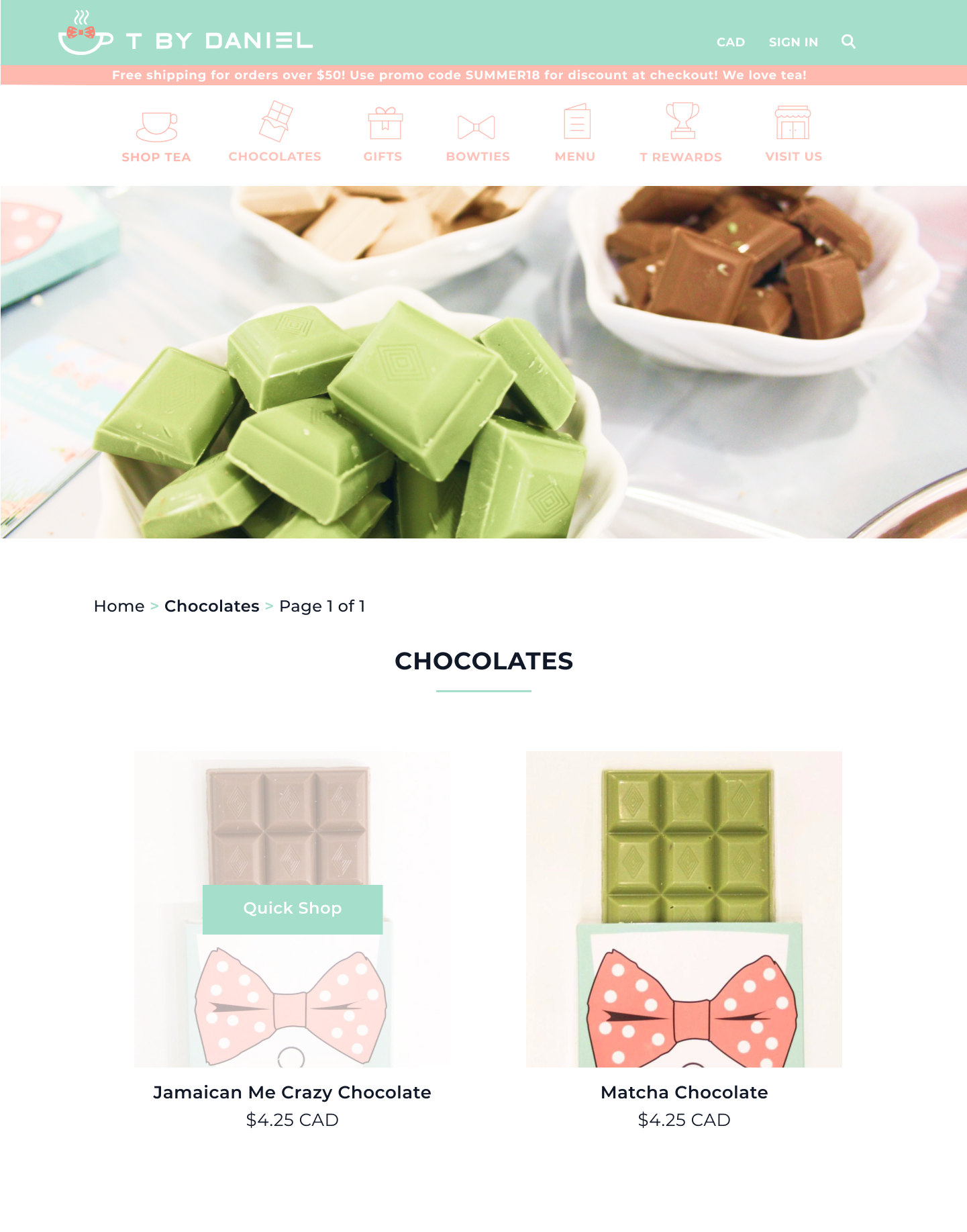 Separate page for tea-flavoured chocolates allow online customers to purchase them from the comfort of their own home.