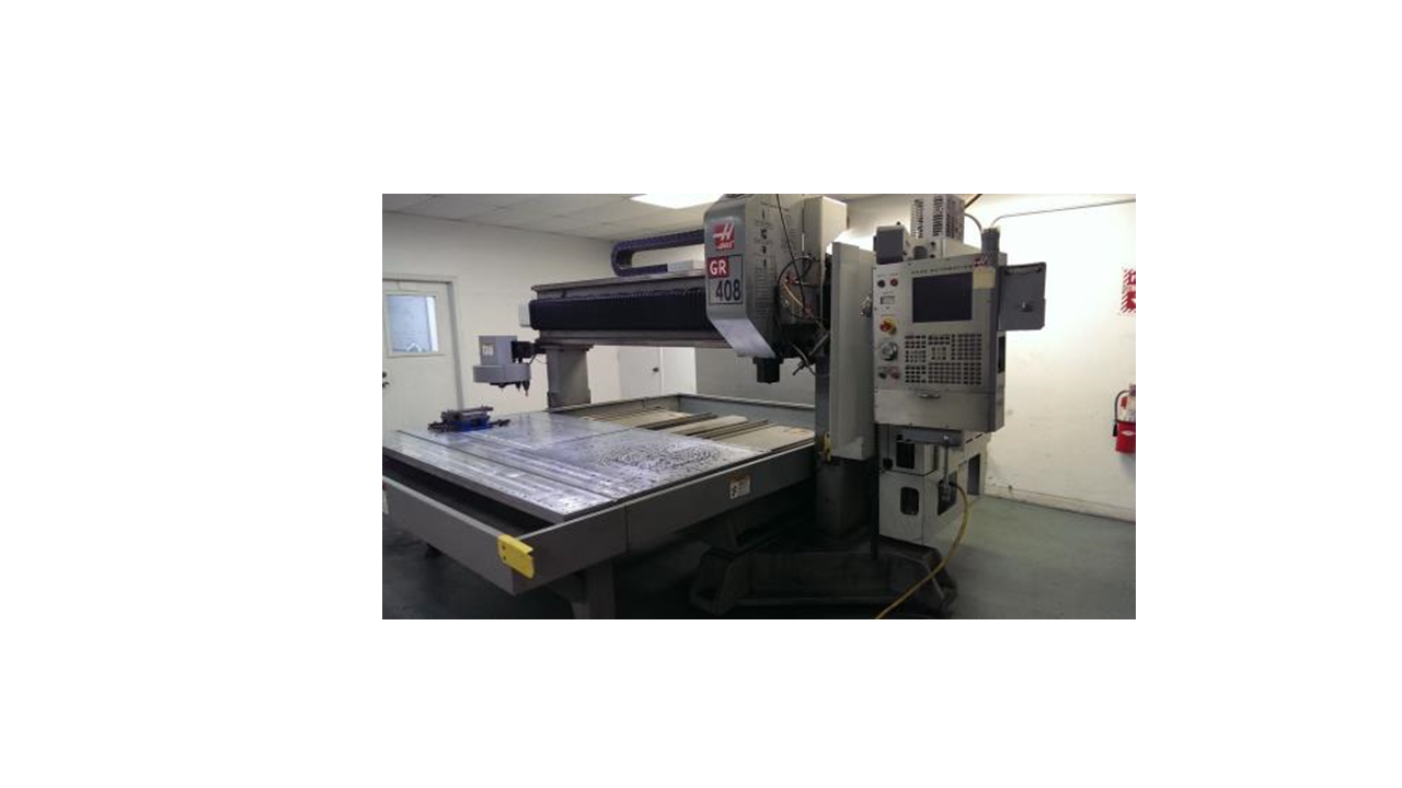 "CNC MILLING - WE HAVE A FULLY CNC HASS GR-408 MILLING MACHINE WITH CAPABILITIES UP TO 50"" (X) X 100""(Y) AND 18"" (Z) WITH AN AUTOMATIC TOOL CHANGER. OUR CNC MILLING OPERATIONS INCLUDE MILLING, PRECISION BORING, DRILLING, TAPPING, SLOTTING AND ENGRAVING."