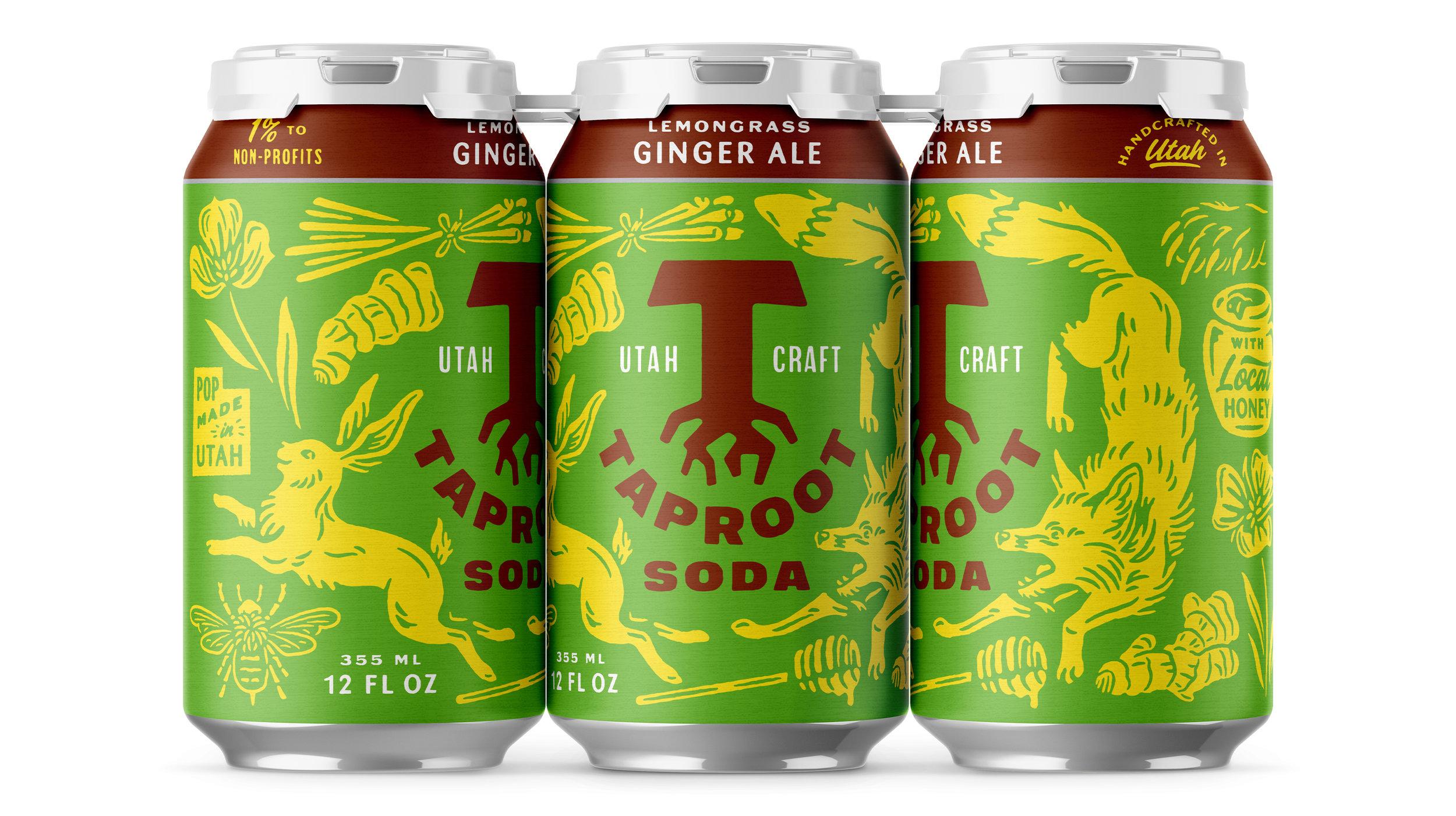 Taproot Soda Lemongrass Ginger Ale Soda Packaging