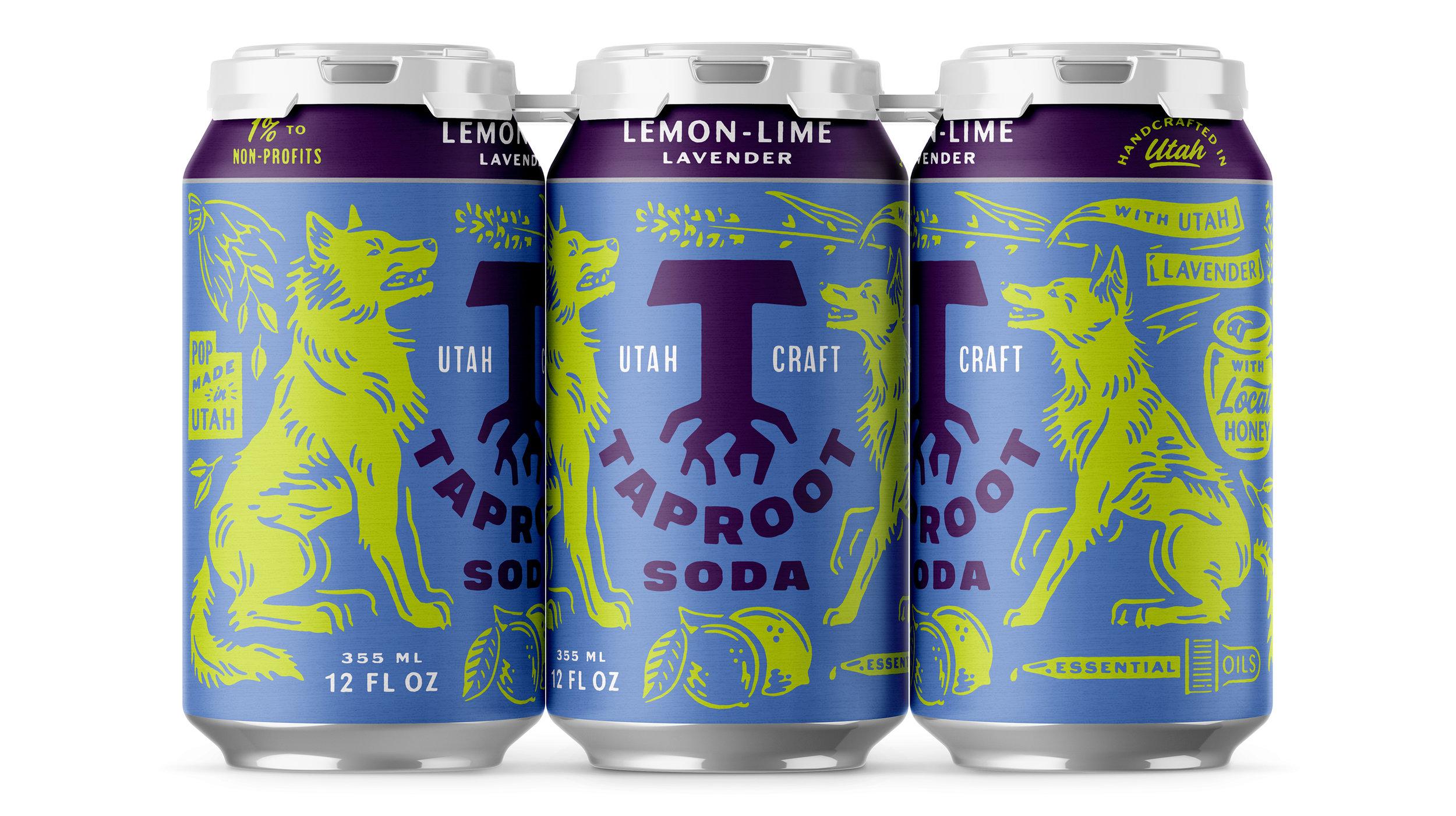 Taproot Soda Lemon-Lime Lavender Soda Packaging