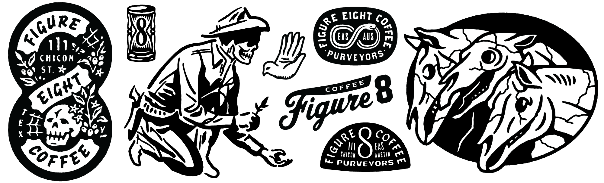 Various designs for Figure 8 Coffee Roasters in Texas