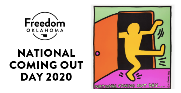 National Coming Out Day 2020 featuring Freedom Oklahoma logo and original NCOD poster design by Keith Haring, 1988