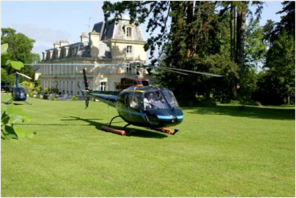 Normandy-HelicopterinChateaugardens.jpg
