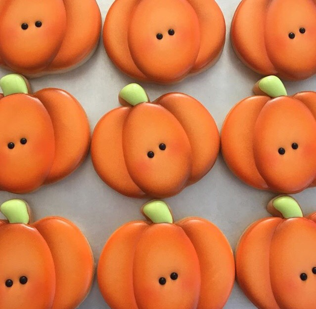 These pumpkins have a complete color group with the base coat and two blended airbrush colors. There is a HUGE difference from where we started, right?