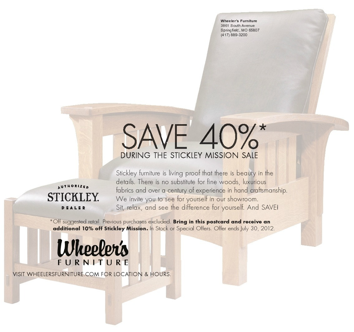 Stickley Mission 40% Off Sale Going On Now! Bring this coupon in for an extra 10% off!