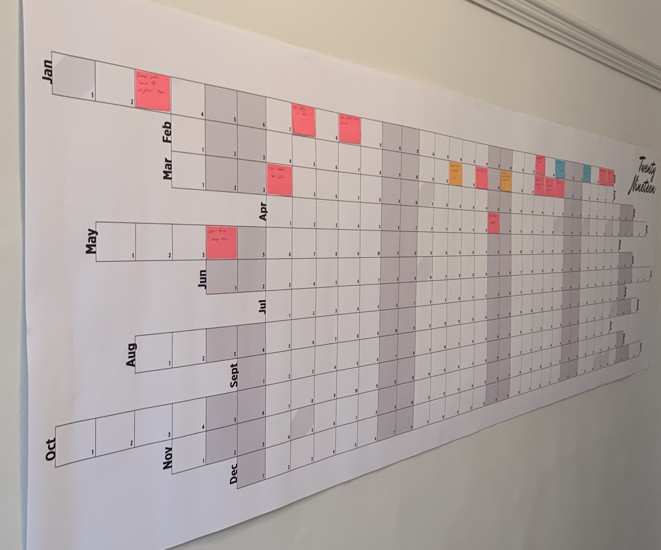 The first photo of the prototype of our first full scale Wall Planner.