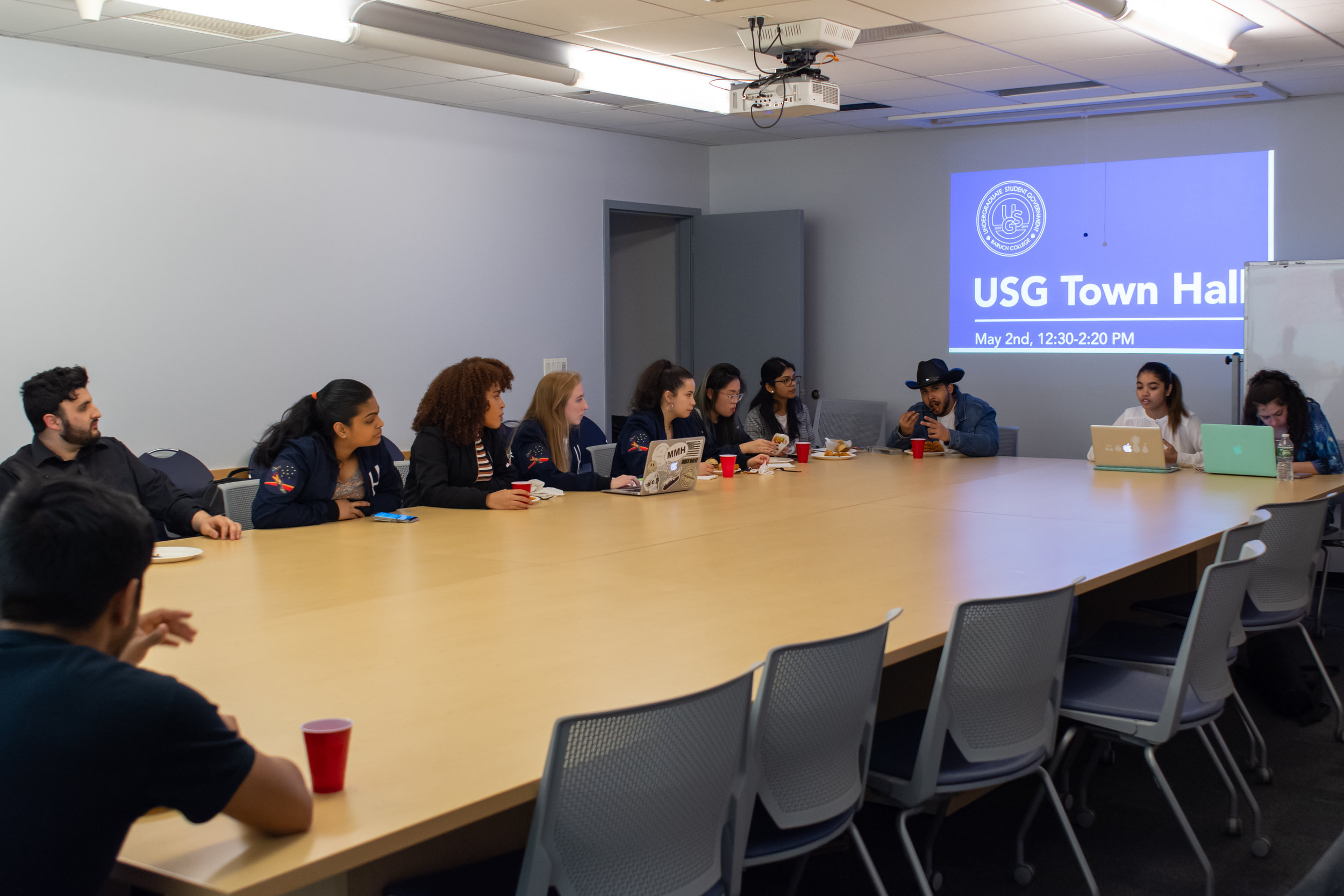 Jabir Rahman | The Ticker   Members of the current USG answered   The Ticker'  s questions and reflected on their past experiences in a Town Hall event held on May 2, despite lack of questions from the student population.