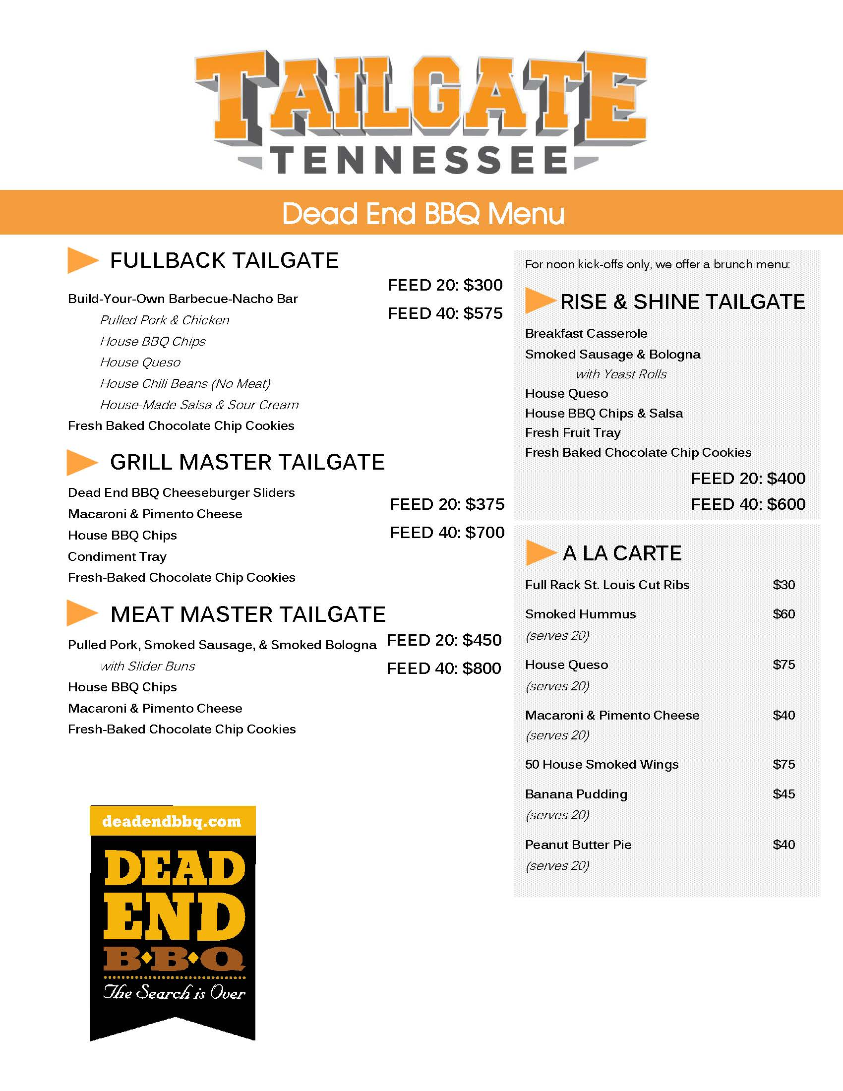 Dead End BBQ 2019 Catering Menu