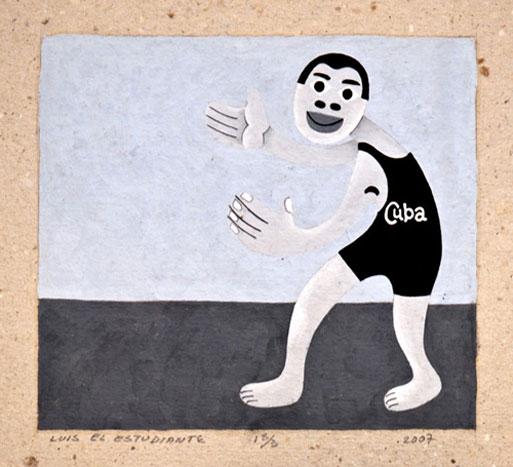 """A LUCHAR POR LA VIDA BY LUIS EL ESTUDIANTE  """"GOUACHE"""" SIGNED AND NUMBERED"""