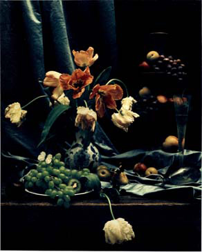 """STILL LIFE WITH JAPANESE VASE, 1998   SHOT ON 8""""X10"""" POLAROID FILM AND PRINTED AS DIGITAL PIGMENT PHOTOGRAPHS ON CANVAS"""