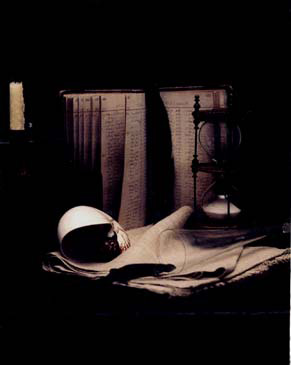"""STILL LIFE WITH HOUR GLASS TIMER, 1999   SHOT ON 8""""X10"""" POLAROID FILM AND PRINTED AS DIGITAL PIGMENT PHOTOGRAPHS ON CANVAS"""