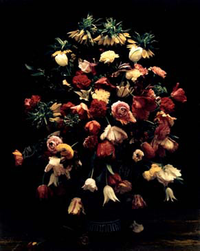 """STILL LIFE OF FLOWERS, 1998   SHOT ON 8""""X10"""" POLAROID FILM AND PRINTED AS DIGITAL PIGMENT PHOTOGRAPHS ON CANVAS"""