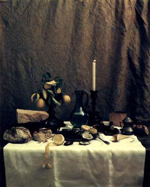 """LAID TABLE, 1998   SHOT ON 8""""X10"""" POLAROID FILM AND PRINTED AS DIGITAL PIGMENT PHOTOGRAPHS ON CANVAS"""