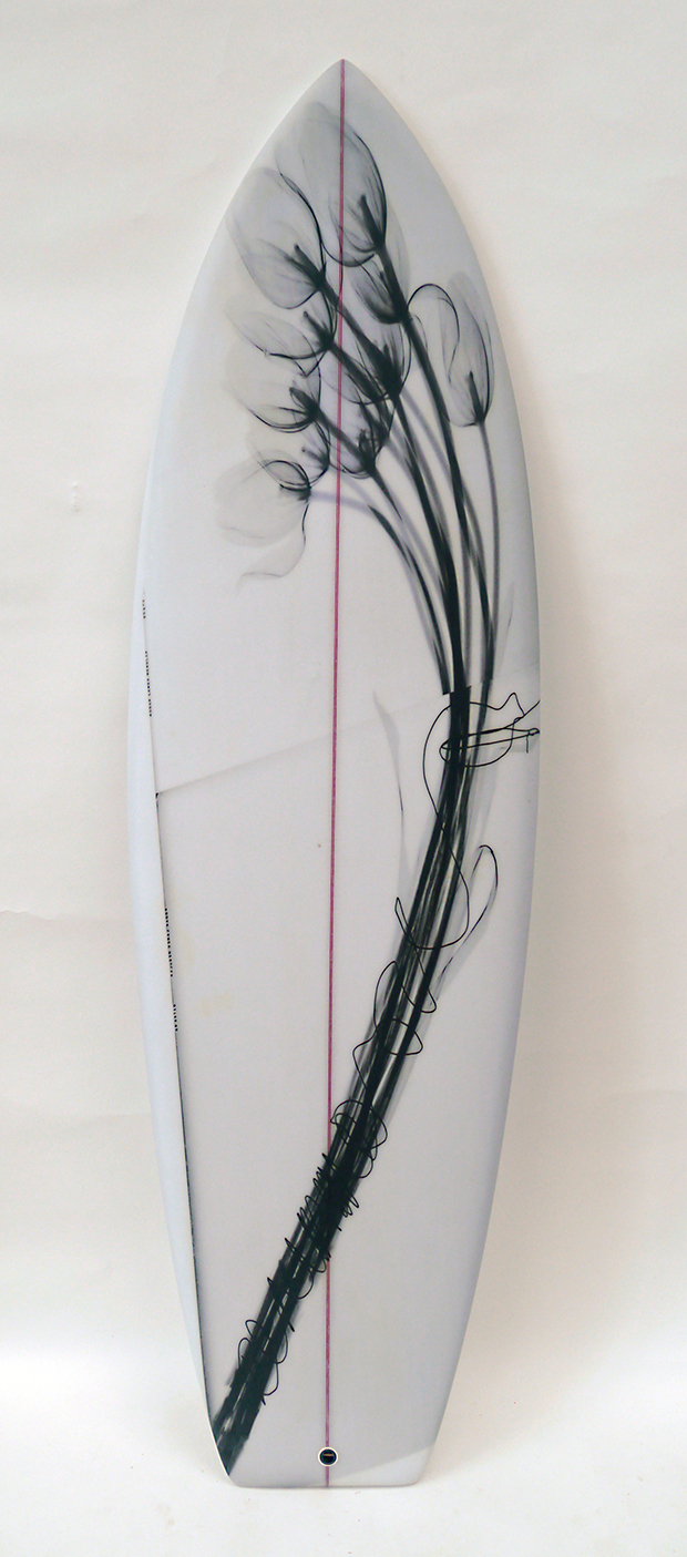 TULIPS SURFBOARD, 2016  INK JET ON FIBERGLASS SURFBOARD. SIGNED AND SURFABLE
