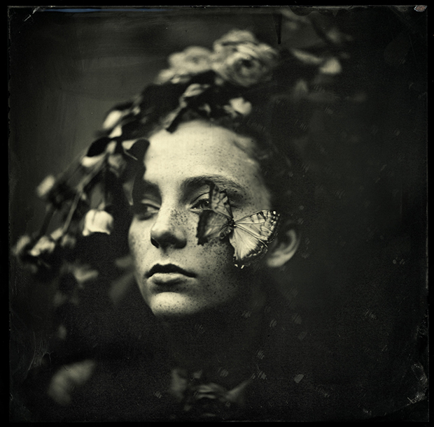 MARK SINK EVA AND BUTTERFLY, 2014  VARNISHED PIGMENT PRINT