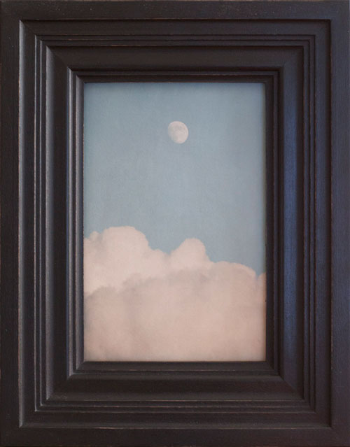 MOON AND CLOUDS, 2013   PIGMENT PRINT ONE OF A KIND HANDMADE ANTIQUE FRAME