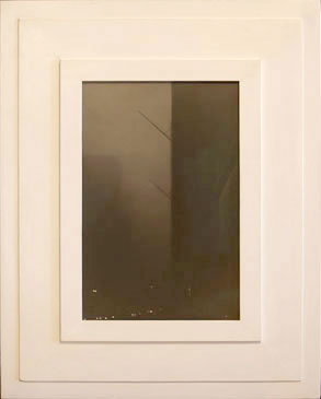 BANNER POLES, NY, 2005  SILVER GELATIN PRINT one of a kind handmade antique frame