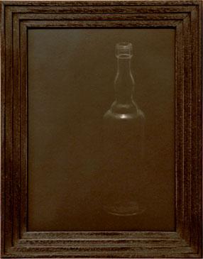 PROHIBITION BOTTLE, 2006  SILVER GELATIN PRINT one of a kind handmade antique frame
