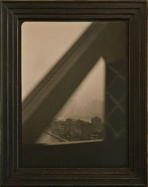 LEAVING MANHATTAN, NY, 2005  TONED SILVER GELATIN one of a kind handmade antique frame