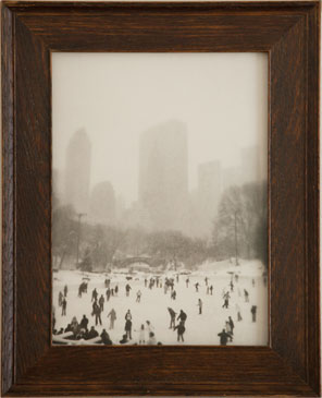 WOLLMAN RINK, NY, 2004  SILVER GELATIN PRINT one of a kind handmade antique frame