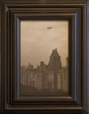 AIRSHIP - FROM THE PLAZA HOTEL , 2003   SILVER GELATIN PRINT one of a kind handmade antique frame