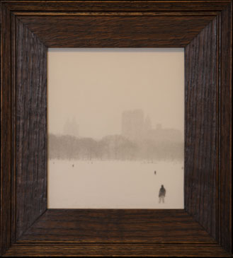 SNOWFALL, CENTRAL PARK, NY, 2005  SILVER GELATIN PRINT one of a kind handmade antique frame
