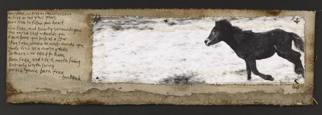 BORN FREE , 2010   ONE OF A KIND PHOTOGRAPH ON CANVAS WITH MIXED MEDIA