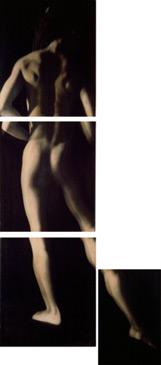 PENNY MAILANDER, DEIDRA, FOUR PIECES, 1995   OIL PAINTED/SILVER GELATIN