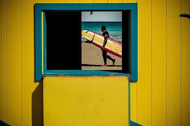 DAVID SAXE SURFER, HOLLYWOOD BEACH, 2010 ARCHIVAL PIGMENT INKJET PRINT
