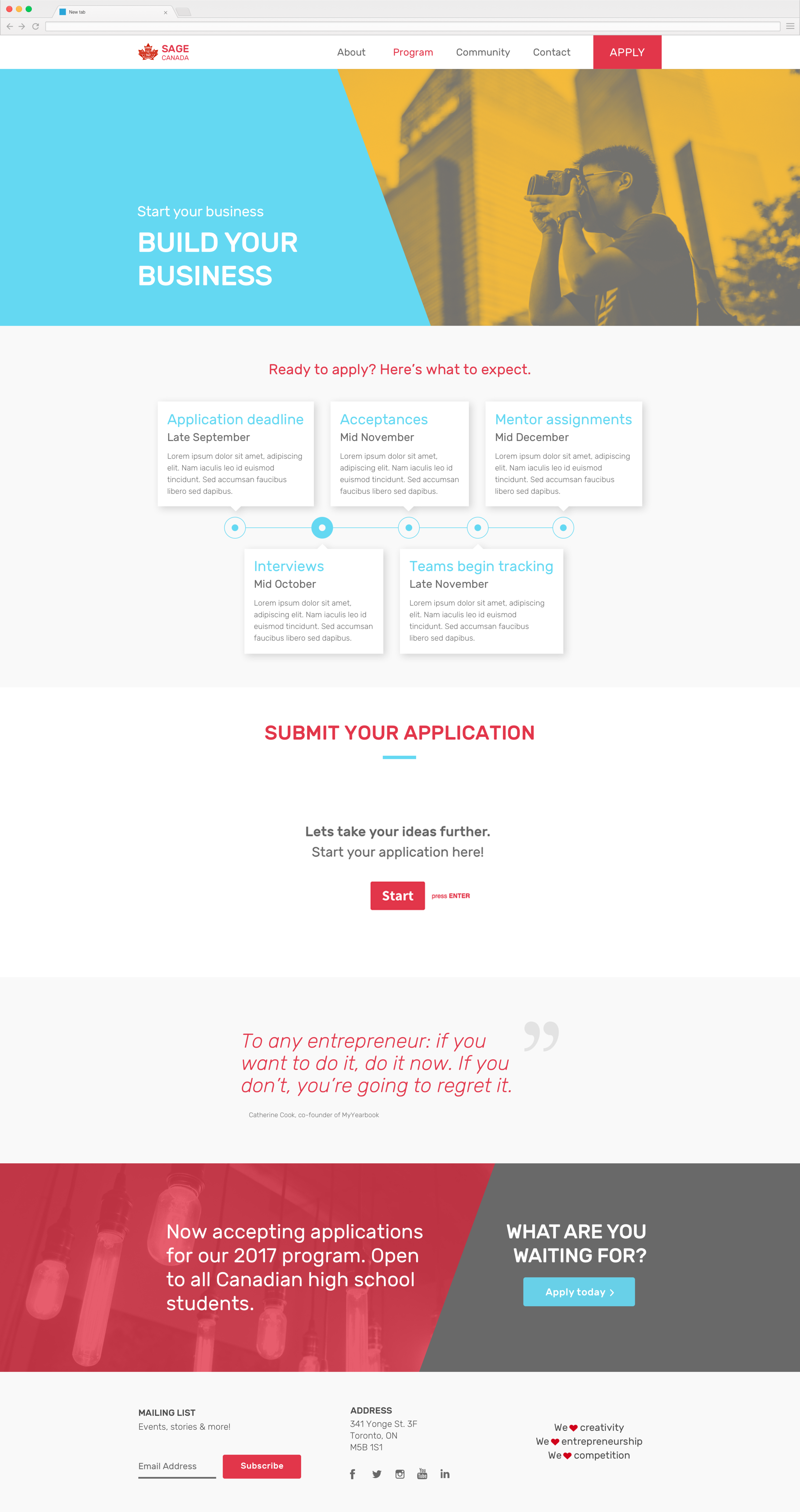 Embedded Typeform application process for easy onboarding.