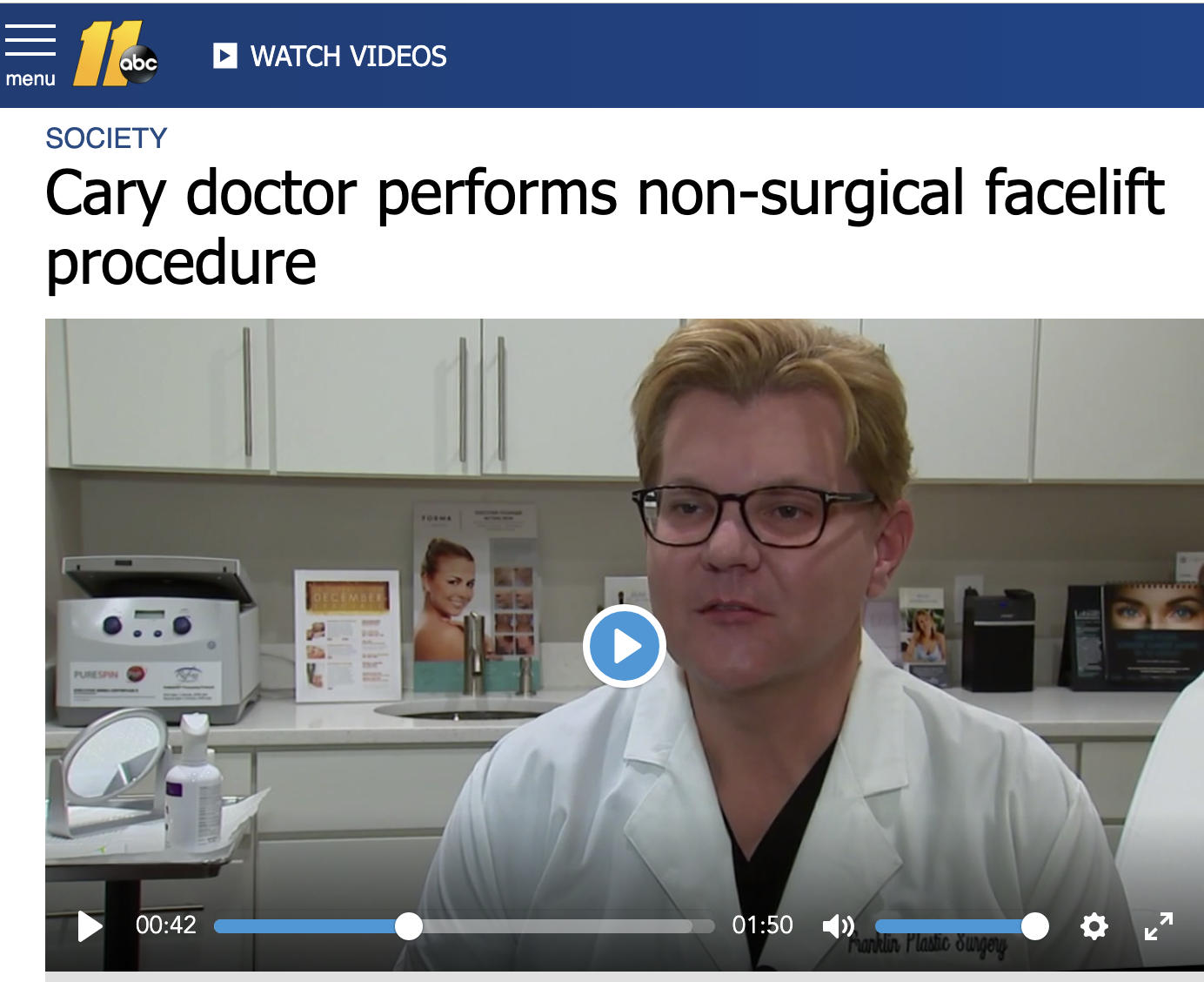 Dr. Franklin interviewed on ABC 11 TV in Raleigh, Durham, Chapel Hill about Forma Skin Tightening