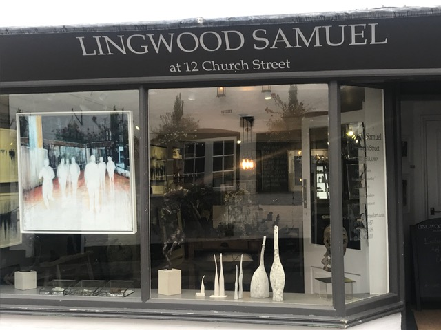 """Gallery : Studio - """"a curious world.....""""Situated in a Grade II listed building in historic Godalming, Surrey, Lingwood Samuel at 12 Church Street is an exciting and original contemporary art and craft gallery incorporating studio space for the artist owners: Caroline Lingwood and Margaret Samuel. The gallery holds four to six exhibitions a year showcasing carefully curated work from artists from all over the UK: paintings, ceramics, sculpture, mixed media, glass and jewellery. Work is displayed in a setting very different from the traditional white cube gallery, to give an idea of how art can be incorporated into the home."""
