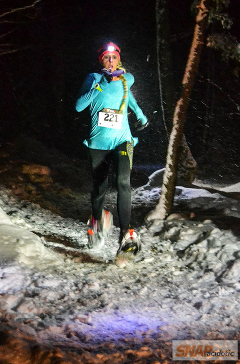 The Tanzania tight in action last winter at my first ever snowshoe race.