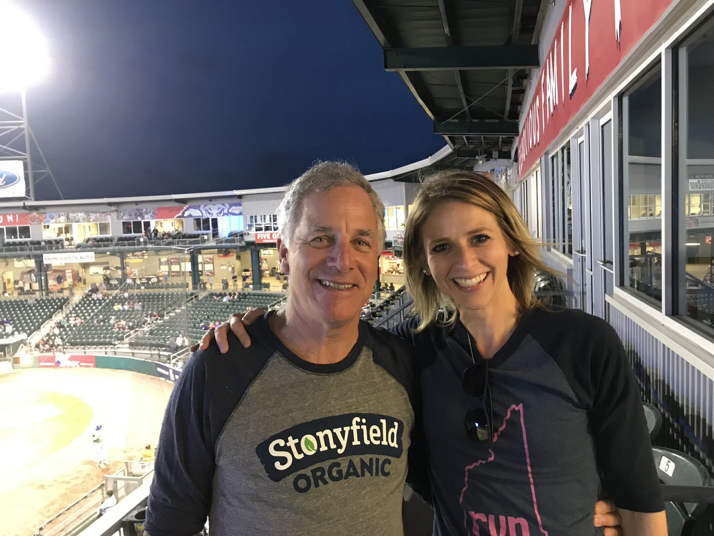 Gary Hirshberg and I at the NH Fisher Cats game. The Fisher Cats are the first professional sports team to go all organic with their field management.