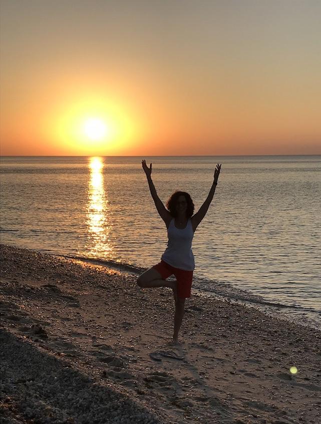 Yoga on the beach + spectacular sunset = pure joy!
