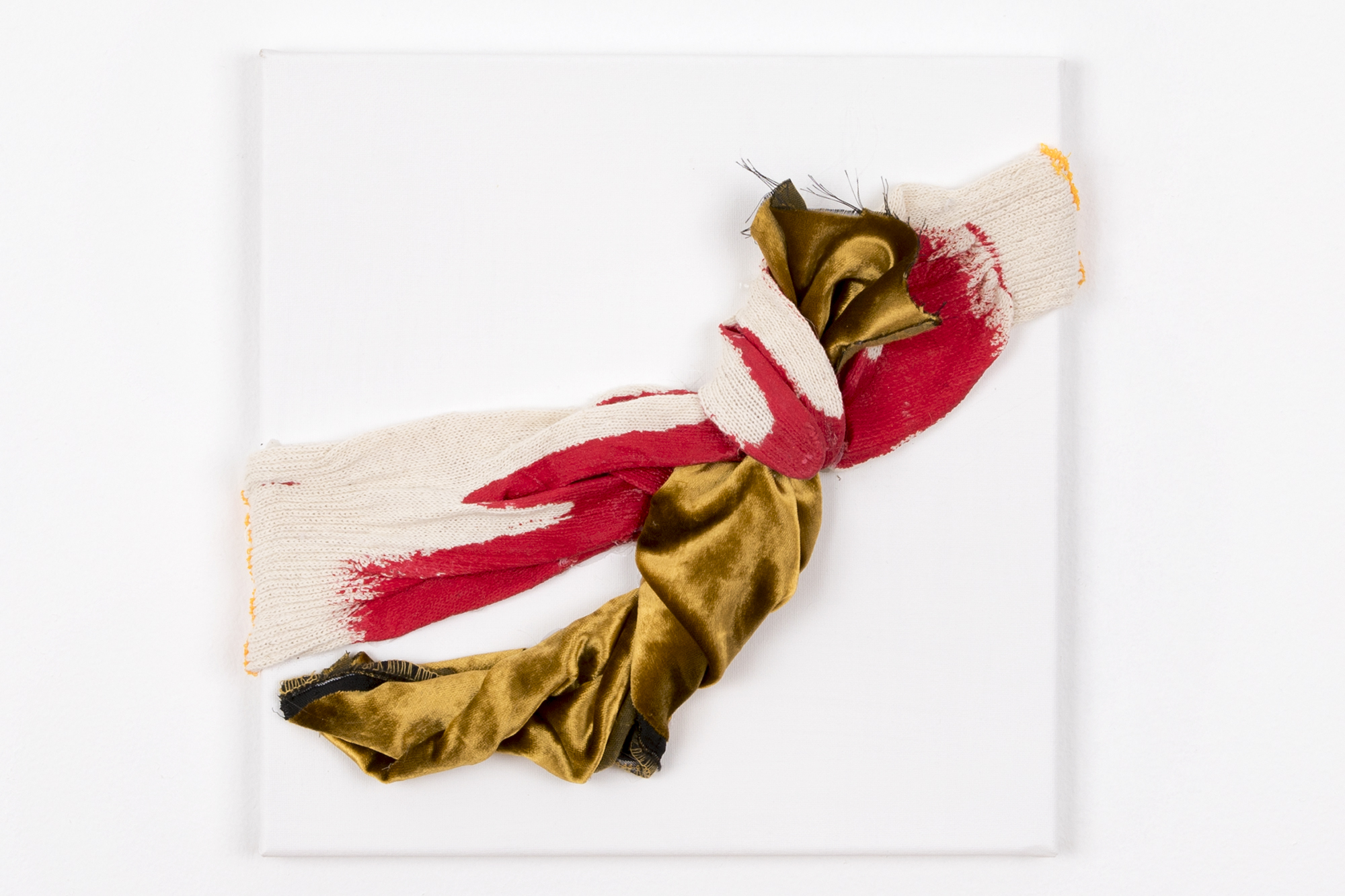 """10"""" x 10"""" x 2"""" Velvet, gloves on canvas"""