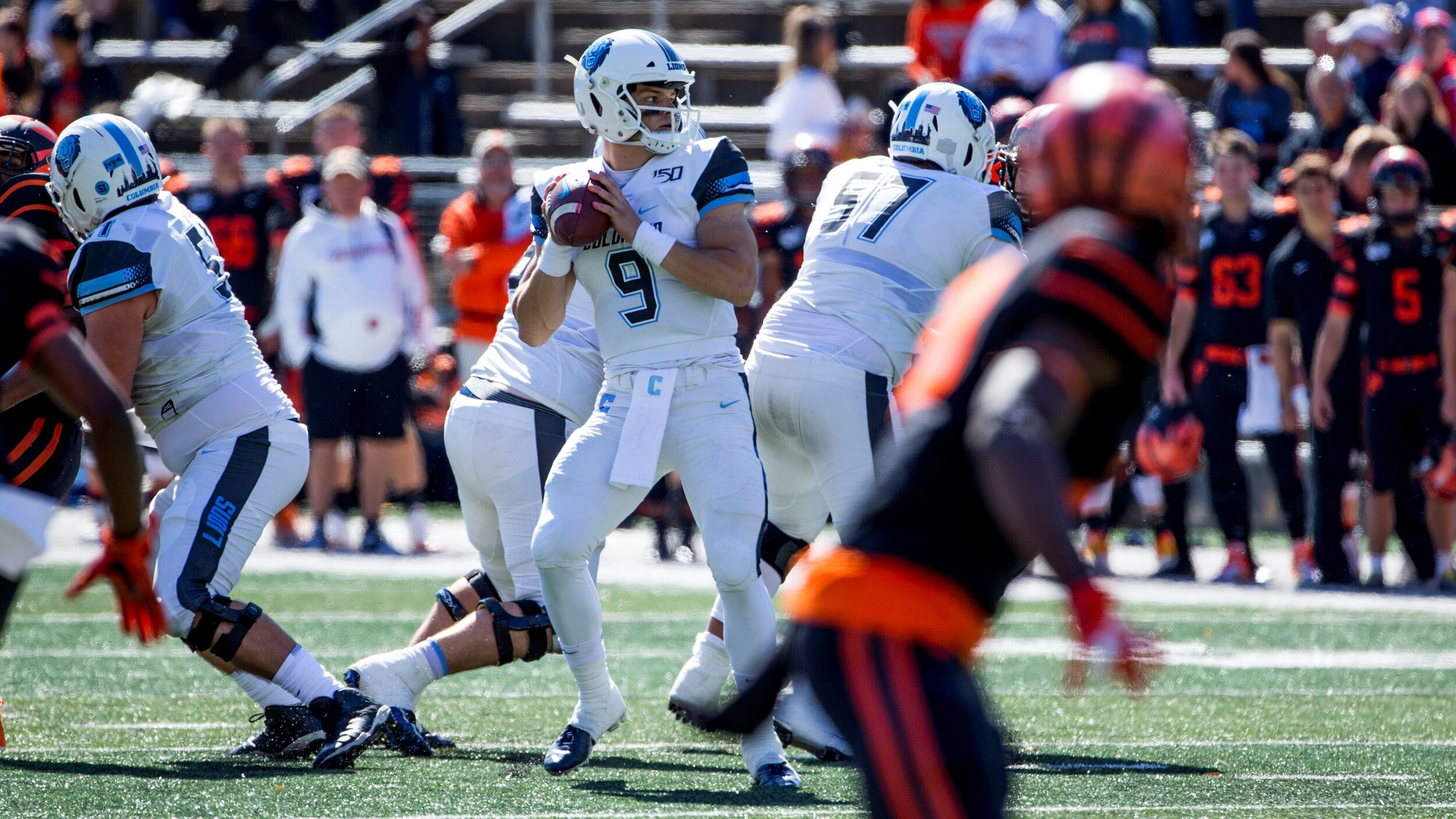 Quarterback Josh Bean drops back to pass against Princeton. Photo courtesy of GoColumbiaLions.