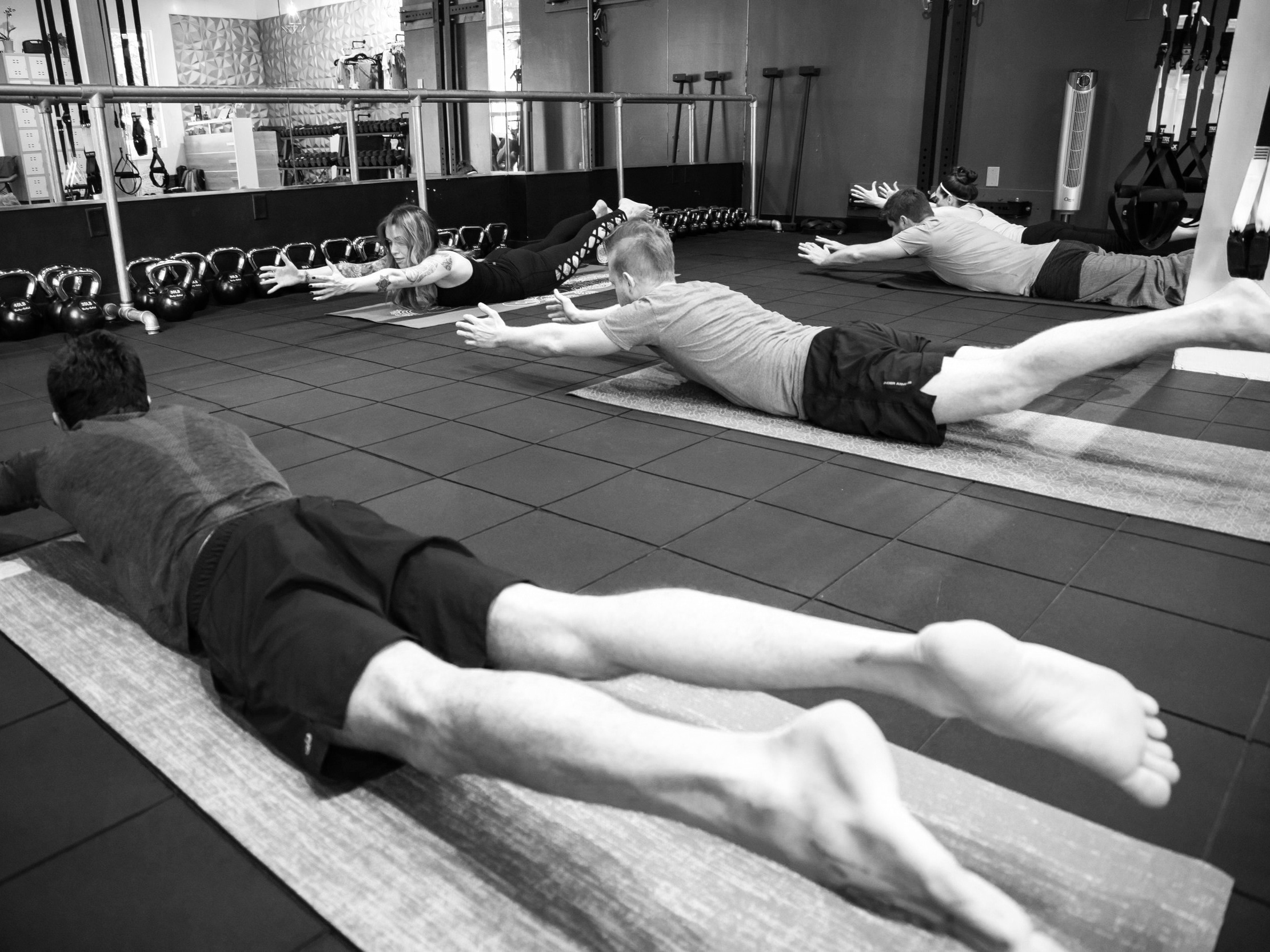 Mat pilates - Pilates is very small movements all coming from your core, to help us re-learn to use these small stabilizing muscles to rebalance our bodies, very low impact this is a great addition to anyones regular training regimen.